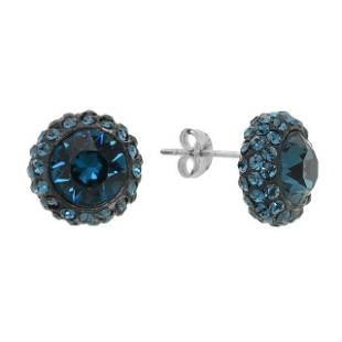 Silver Swarovski blue crystal Stud Earrings