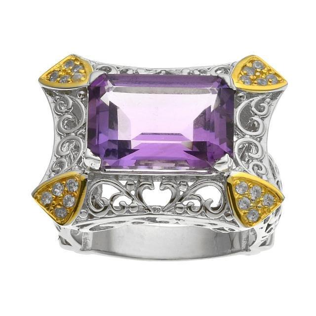 Silver 6.83ct Amethyst & Zircon Filigree Ring-SZ 7