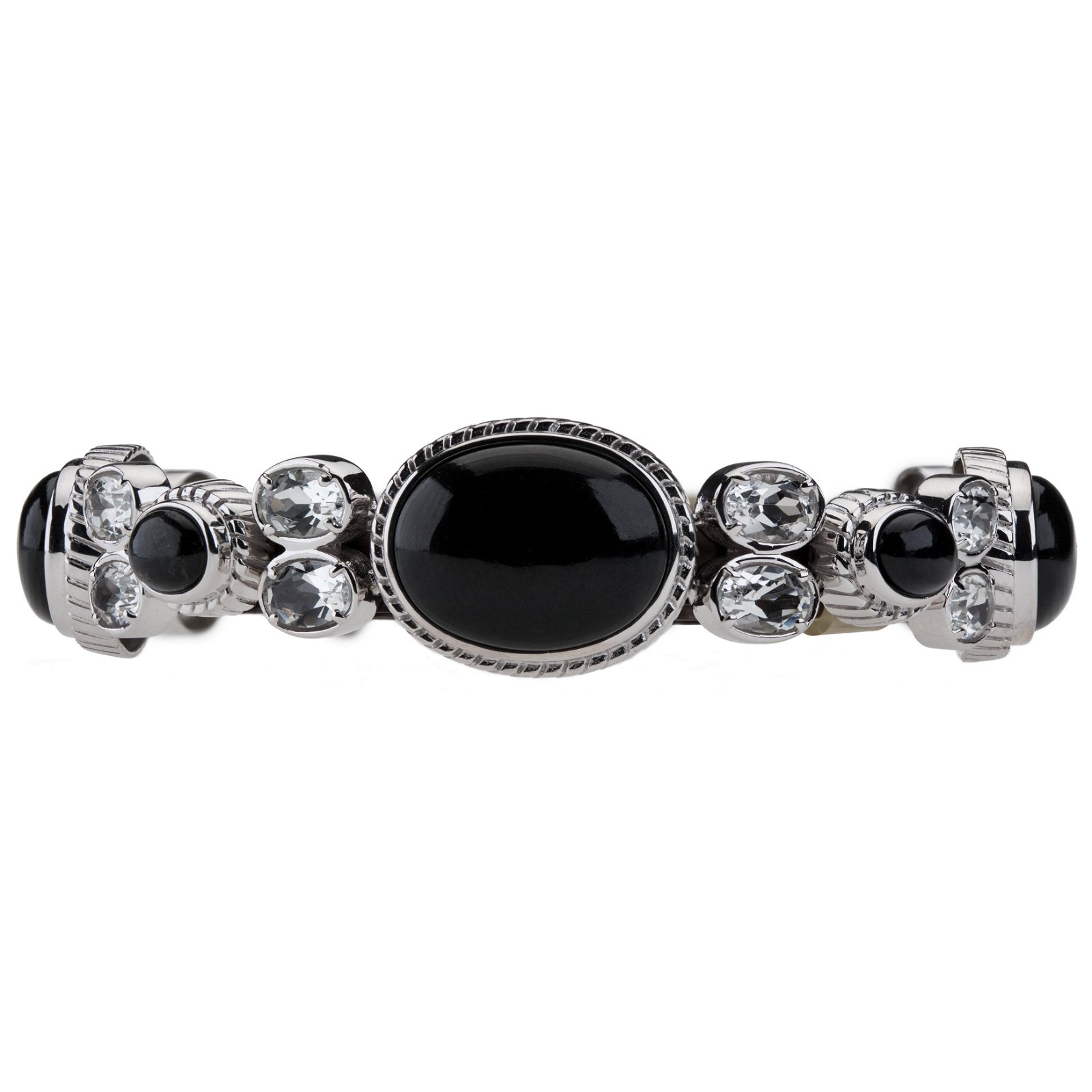 Silver Colorado Black Moon & Topaz Bracelet 6.7""