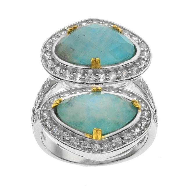 Silver Turquoise & Moonstone Doublet Ring-SZ 7