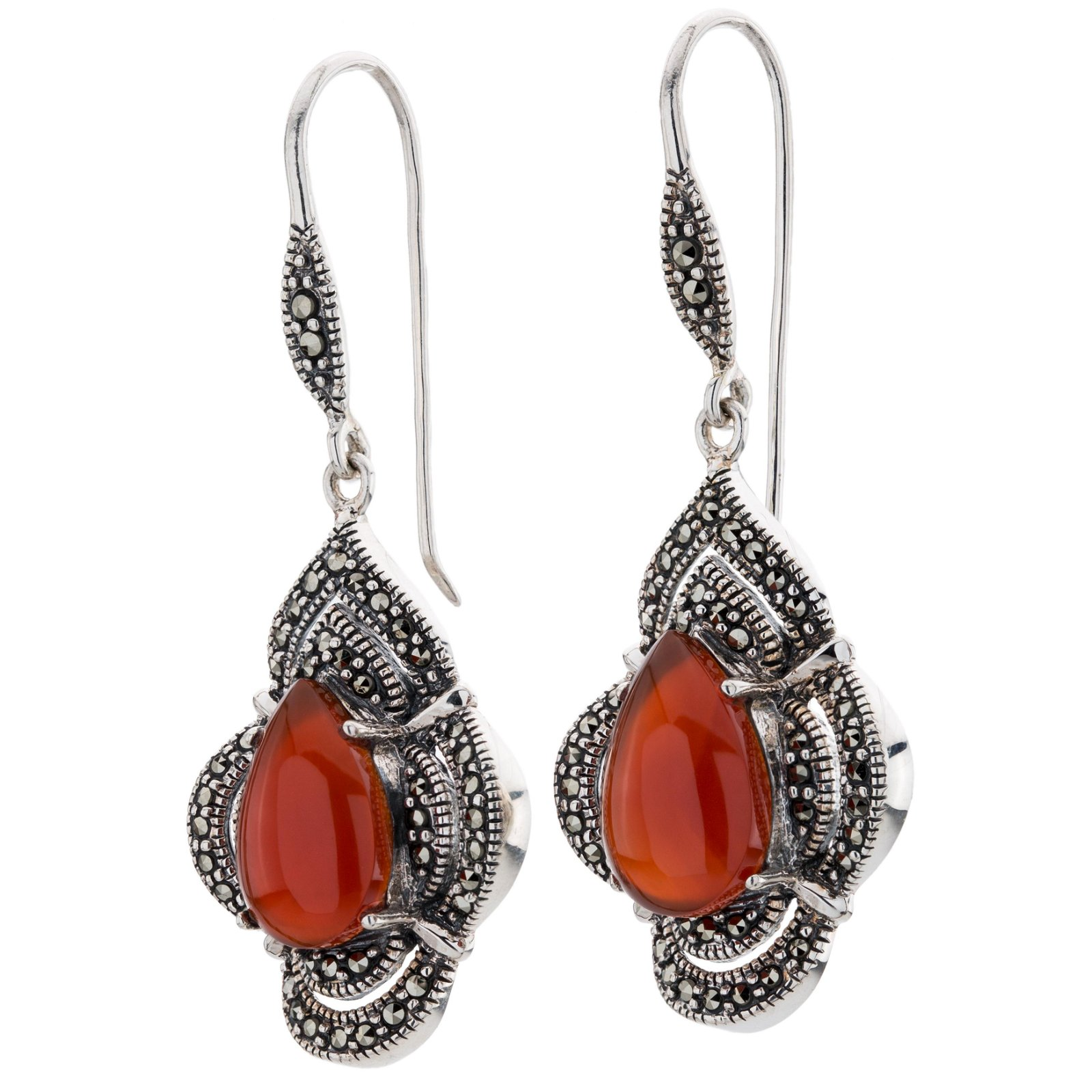 _x000D_ Silver Red Agate & Marcasite Pear Drop