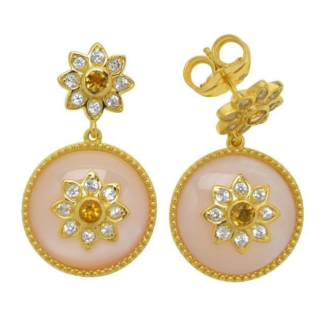 14K Gold Vermeil Pink MOP & Citrine Drop Earring
