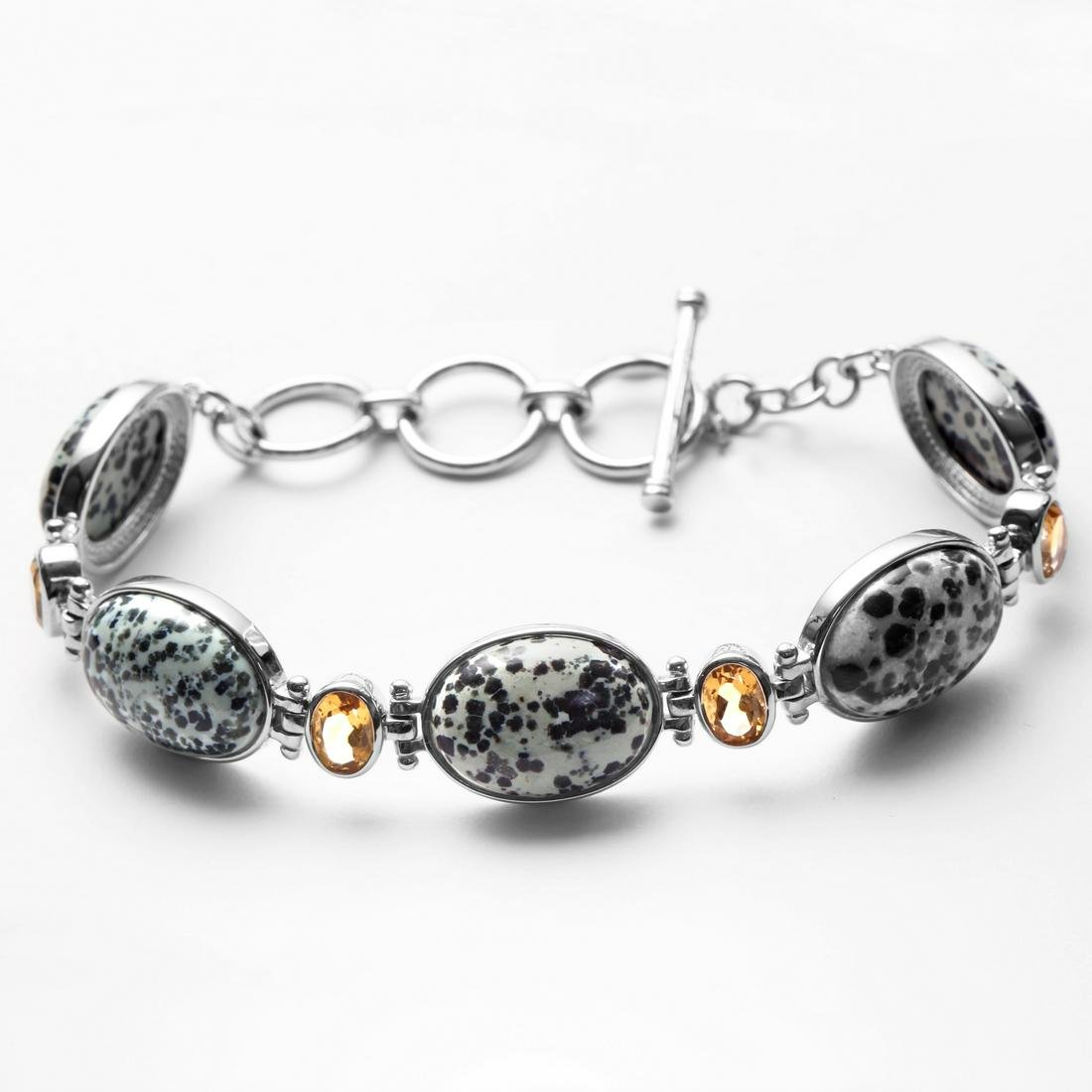 Silver 3.04ct Citrine & Augite Toggle Bracelet