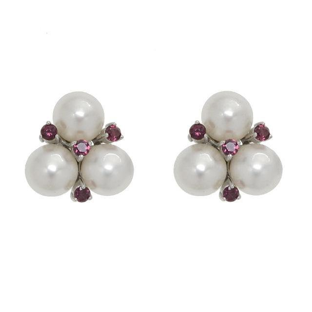 Sterling Silver 8mm Pearl & Garnet Stud Earrings