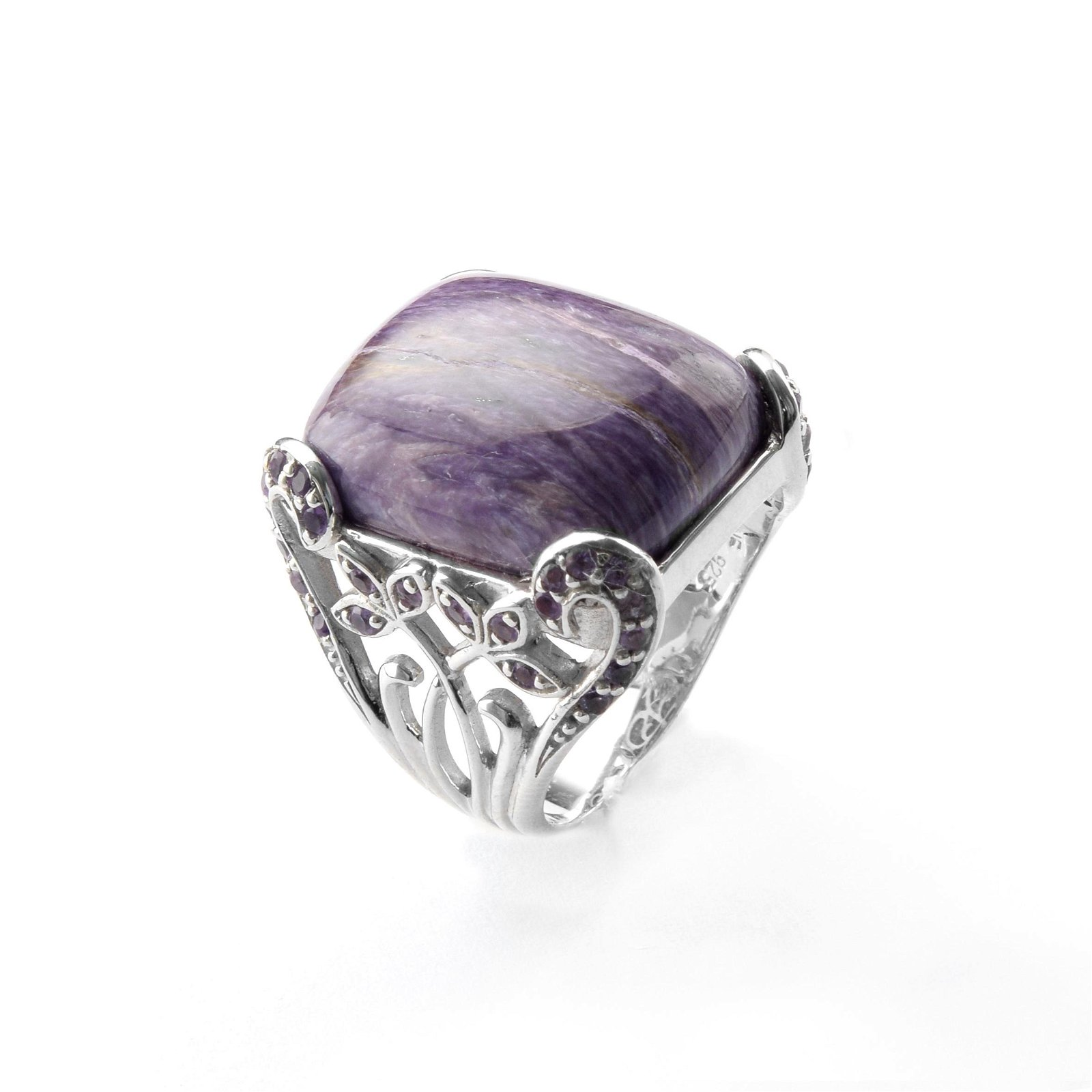Sterling Silver Charoite & Amethyst Ring-SZ 7