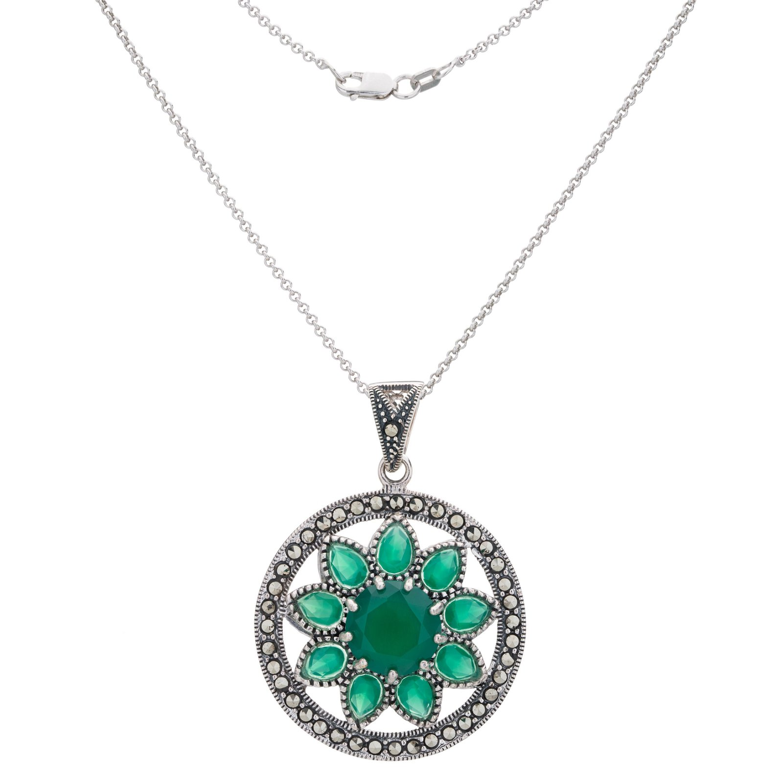 Silver Green Agate and Marcasite Flower Pendant