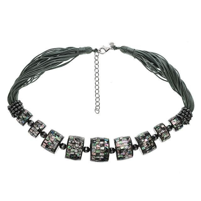 Sterling Silver Black Mosaic MOP Bead Necklace 20'