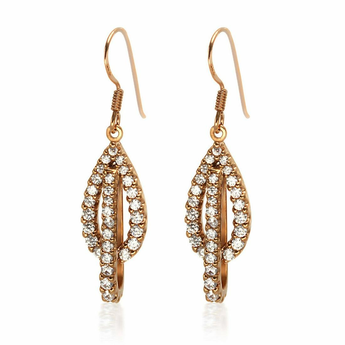 18K Rose Gold Over Sterling Silver Drop Earrings