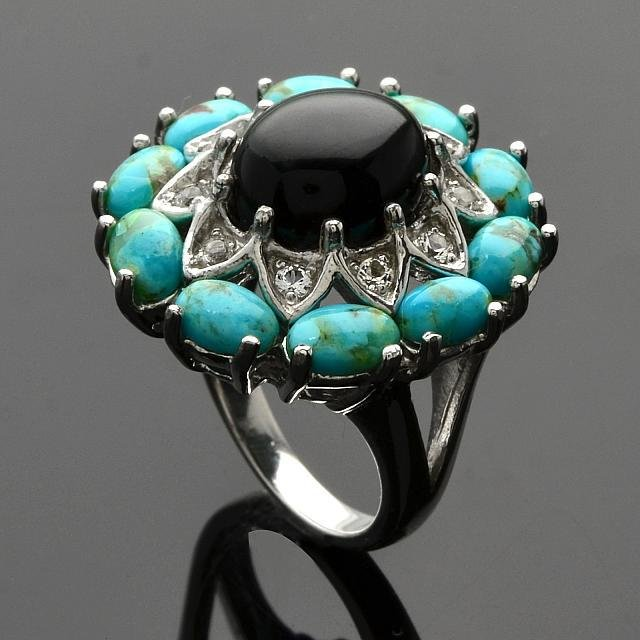 Silver Turquoise & Black Onyx Flower Ring-SZ 7