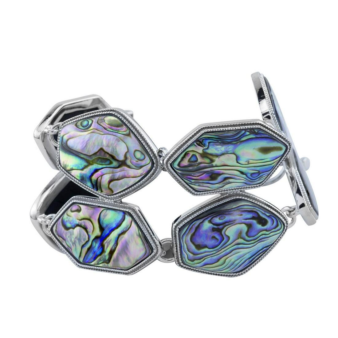 Sterling Silver Abalone Two-Row Toggle Bracelet