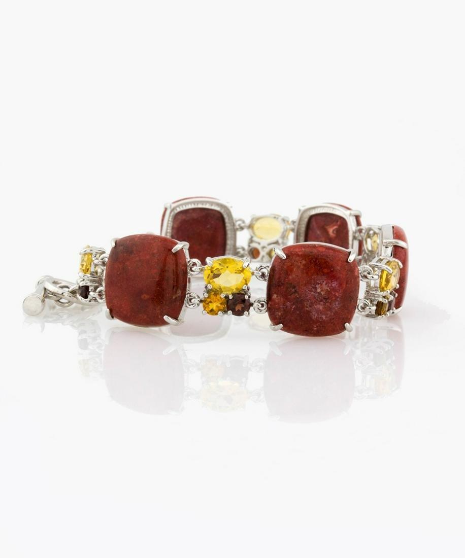 Silver Coral & Multi Gemstone Toggle Bracelet _x000D_