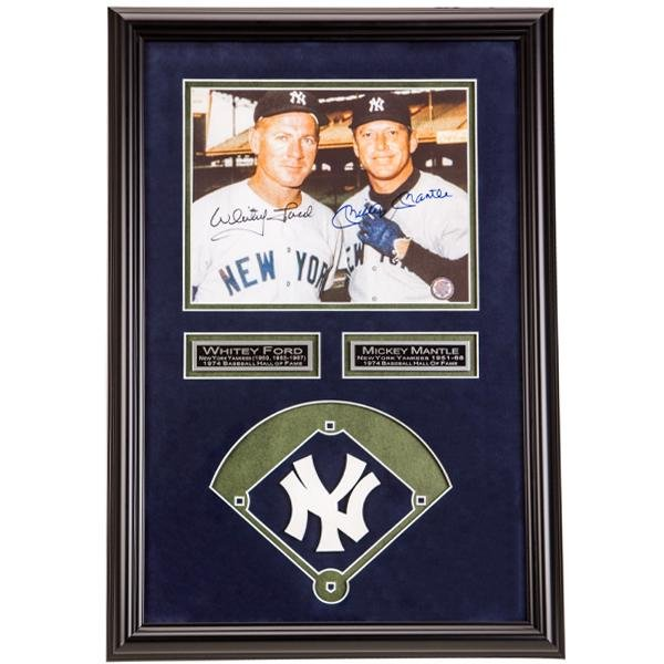 Whitey Ford & Mickey Mantle Signed Framed20x14GFA