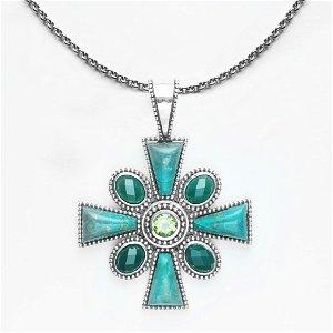 Sterling Silver Chrysocolla Maltese Cross Pendant