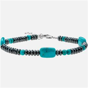 Silver Turquoise and Hematite Bracelet 75