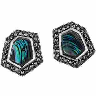 Silver Abalone Marcasite Hexagonal Stud Earrings