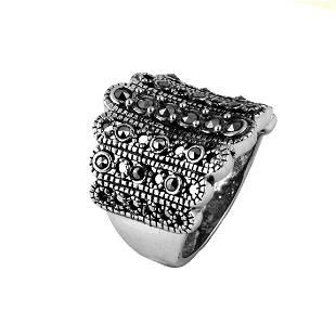 Sterling Silver Marcasite Beaded RingSZ 7