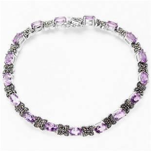 Sterling Silver Amethyst Marcasite Line Bracelet