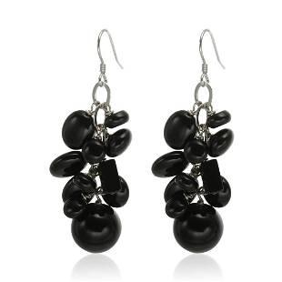 Sterling Silver Black Agate Cluster Drop Earrings
