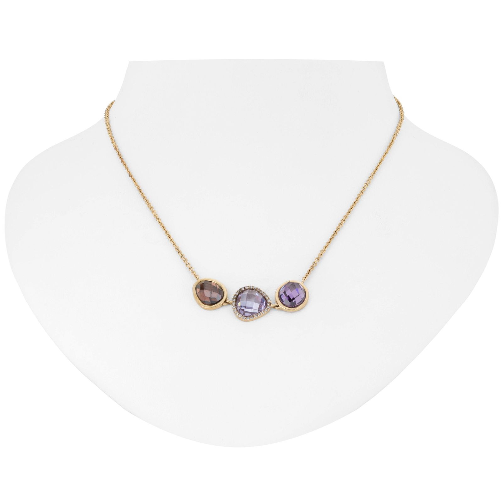14K Gold over Silver 3 Stone Halo Necklace