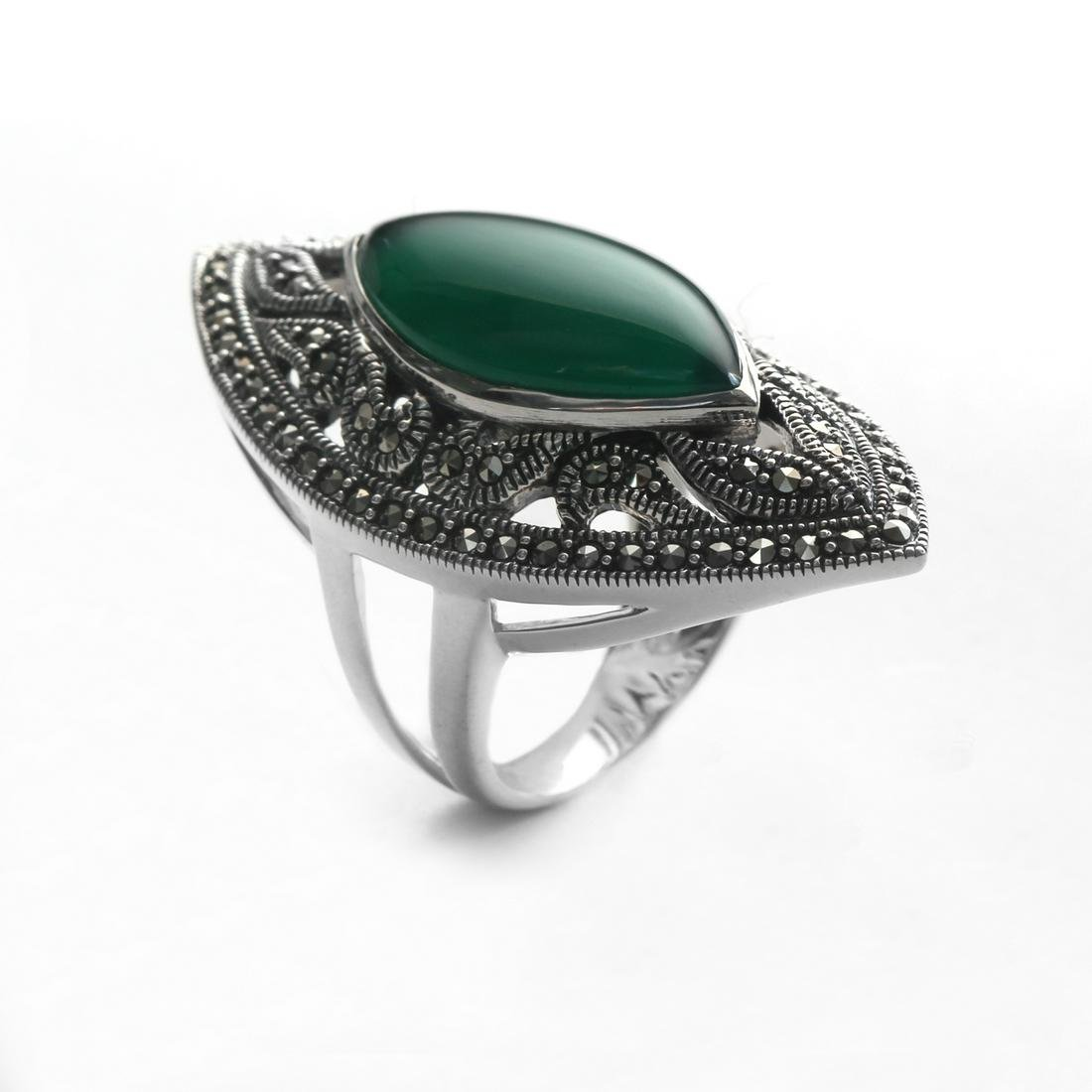 Sterling Silver Green Agate & Marcasite Ring-SZ 8