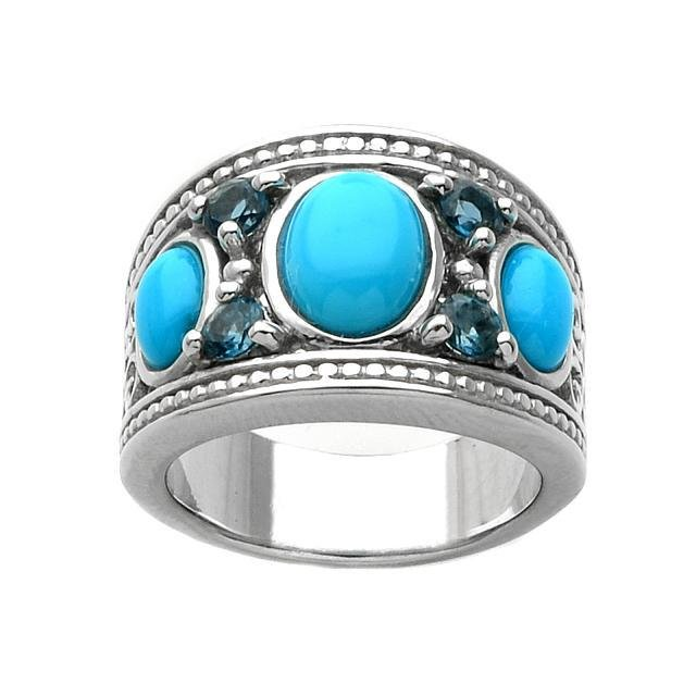 Silver Turquoise & Blue Topaz Ring-SZ 9