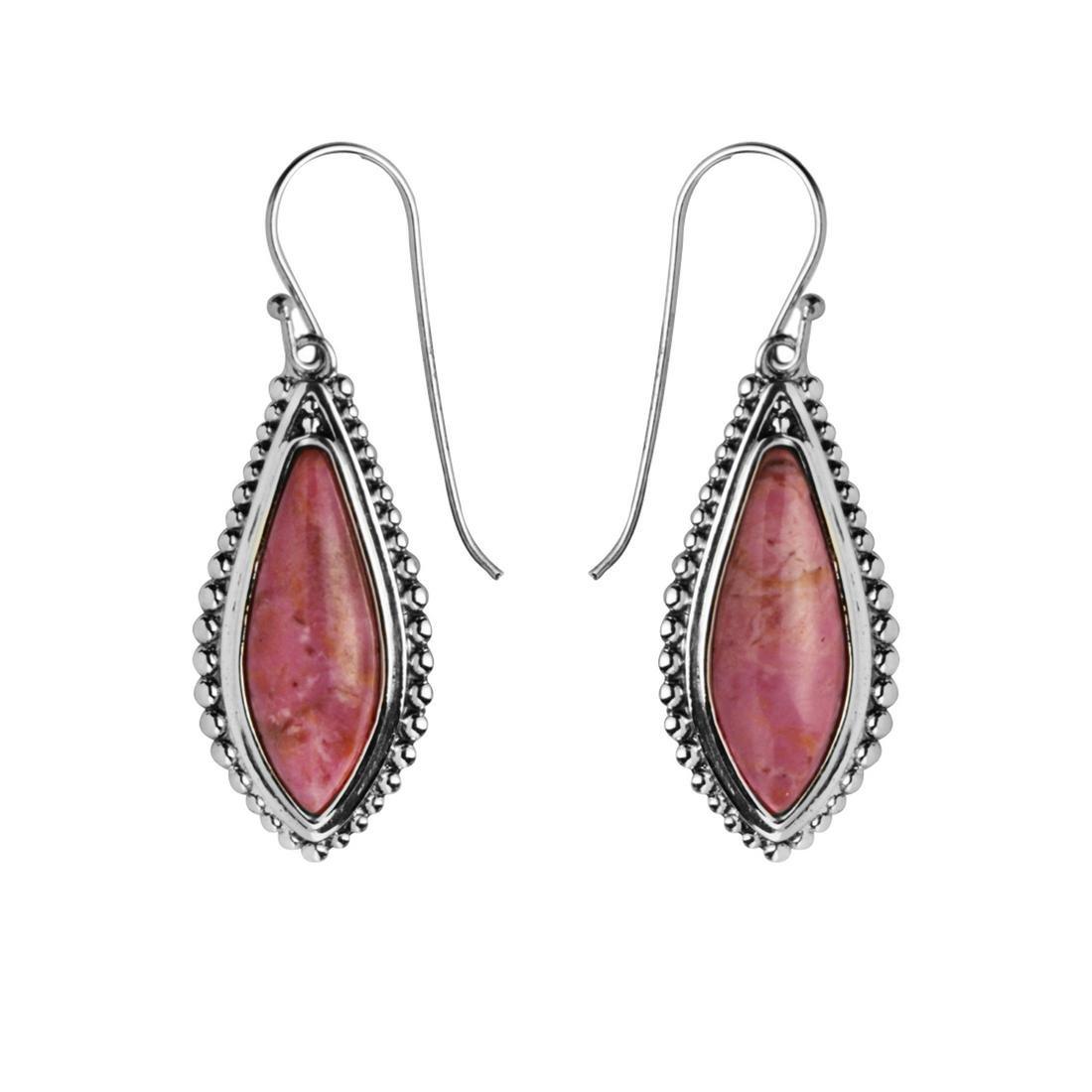 Sterling Silver Rhodonite Beaded Earrings
