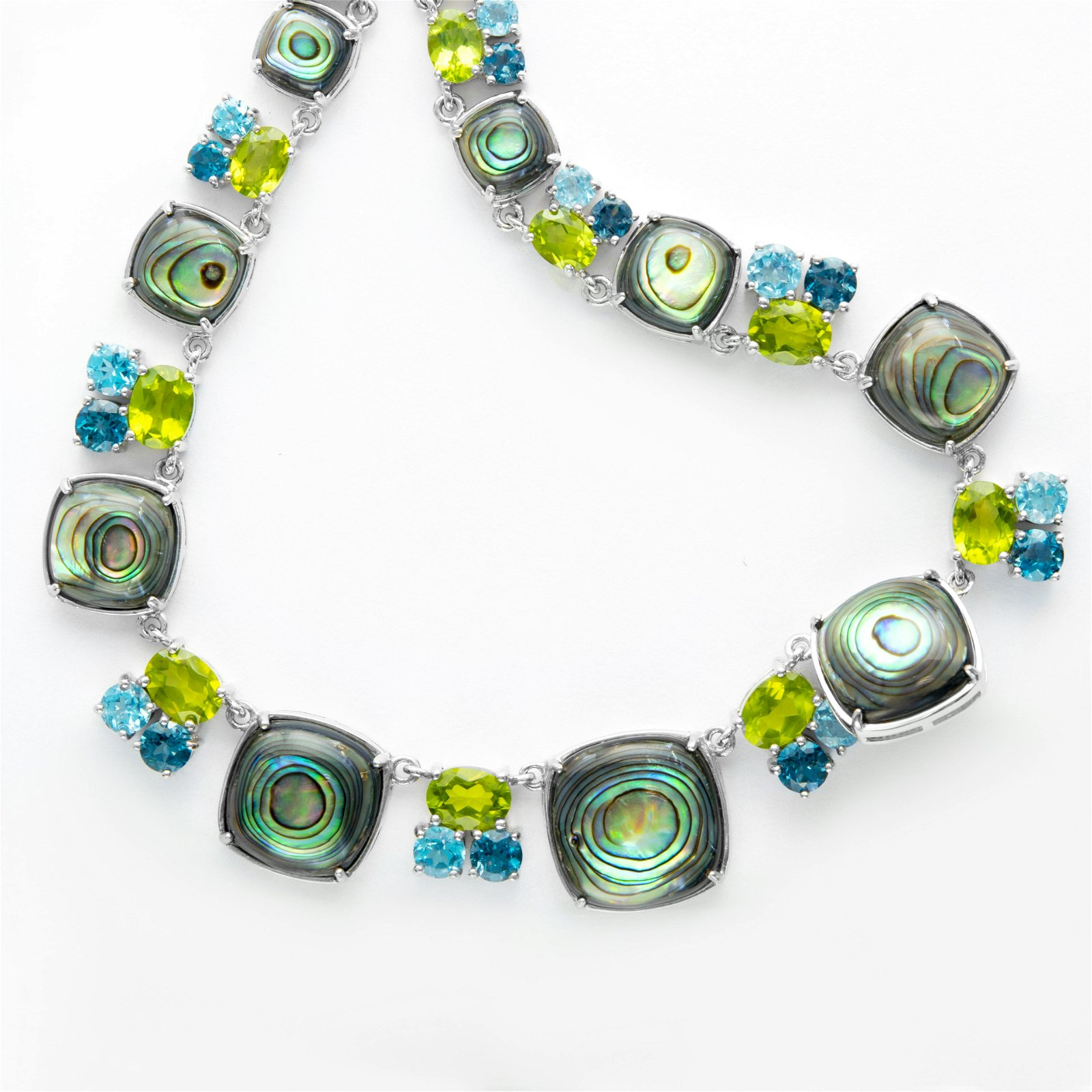 Sterling Silver Abalone & Gemstone Toggle Necklace