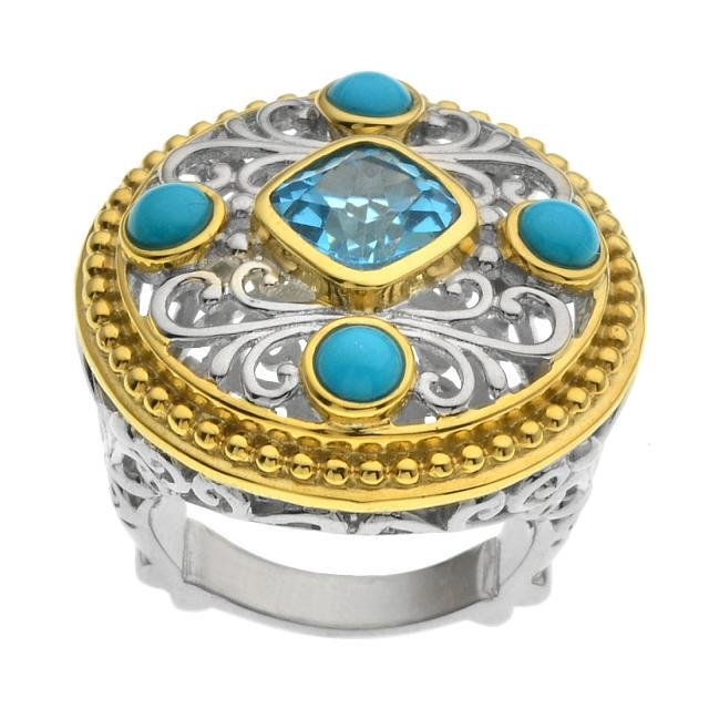 Silver 2.75ct Blue Topaz & Turquoise Ring-SZ 9