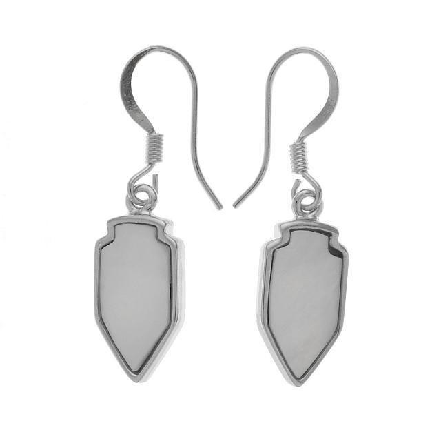 Silver Tone White MOP Arrowhead Dangle Earrings