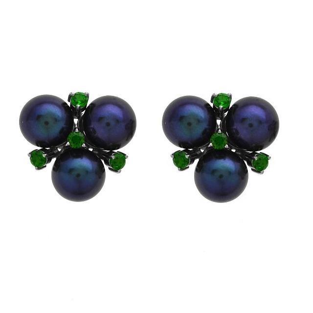 Sterling Silver Pearl & Chrome Stud Earrings