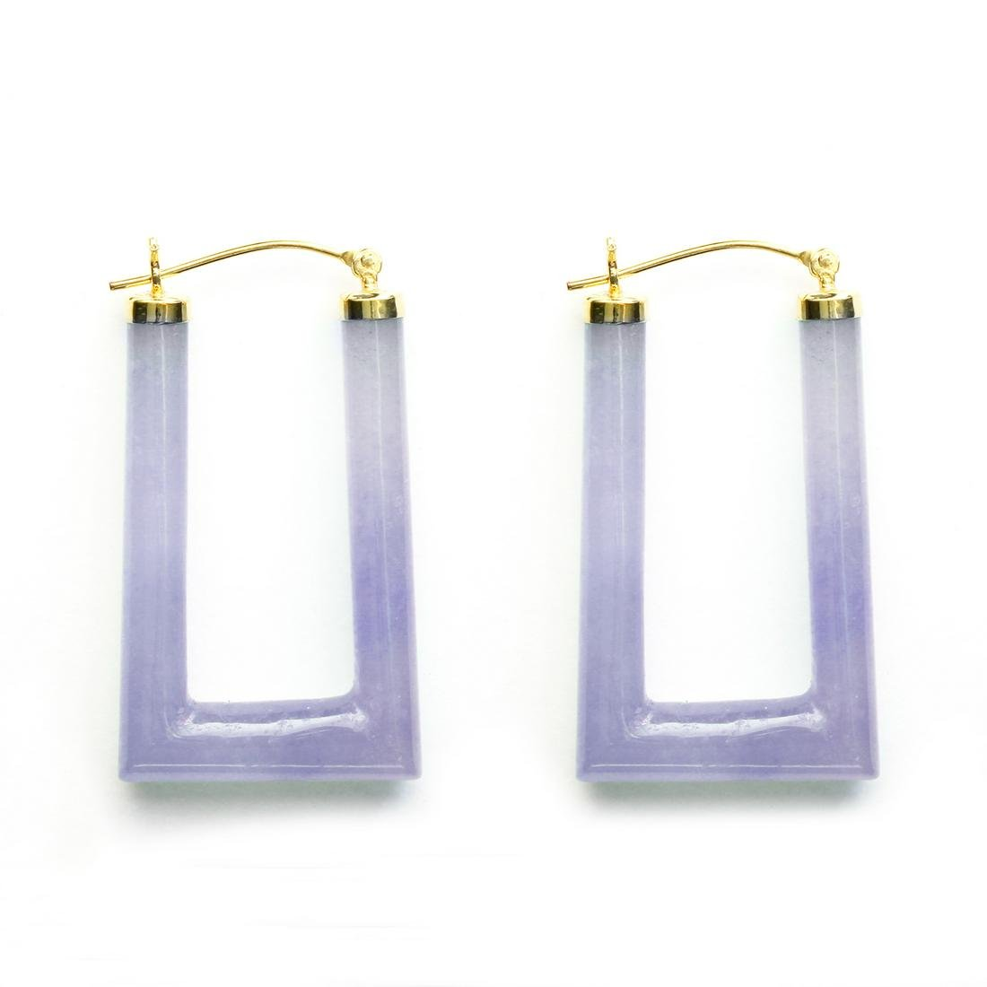 14K Gold Lavender Jade Hinged Earrings