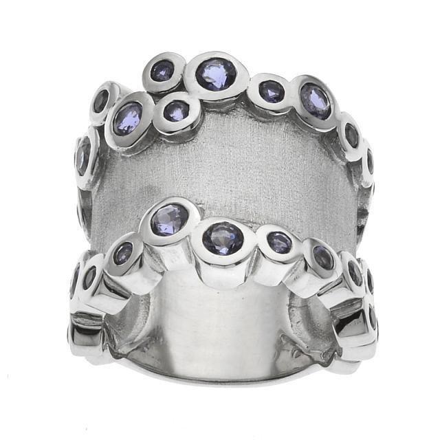 Sterling Silver Iolite Satin Finish Ring-SZ 7