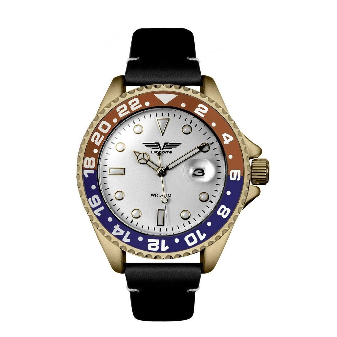 Deporte Pacific Mens Diver Style Watch with Leather