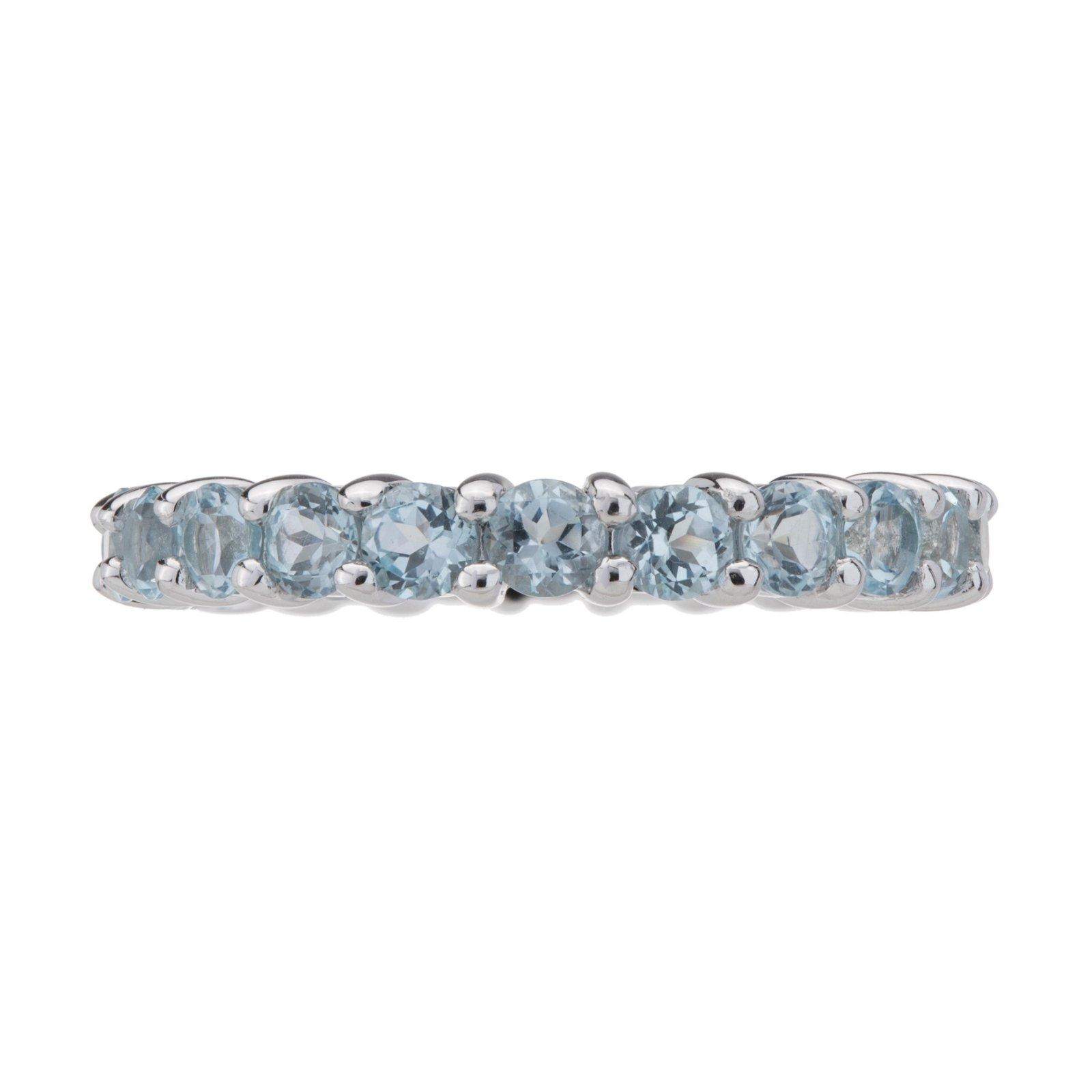Sterling Silver Gemstone Eternity Band Ring-SZ 8