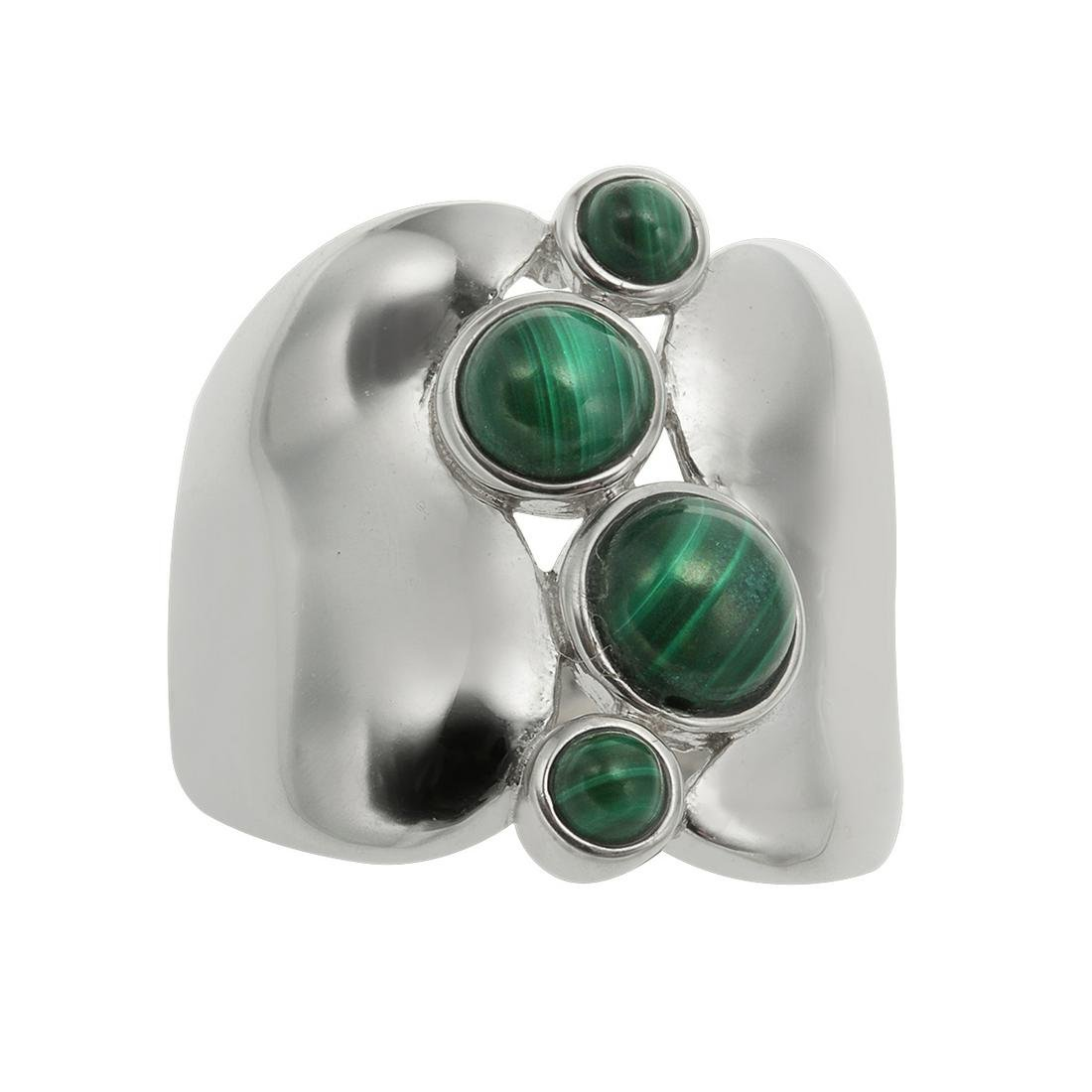Sterling Silver Malachite Wide Band Ring-SZ 9