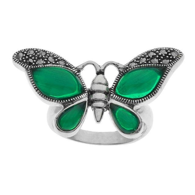Silver Green Agate & Marcasite Butterfly Ring-SZ 8