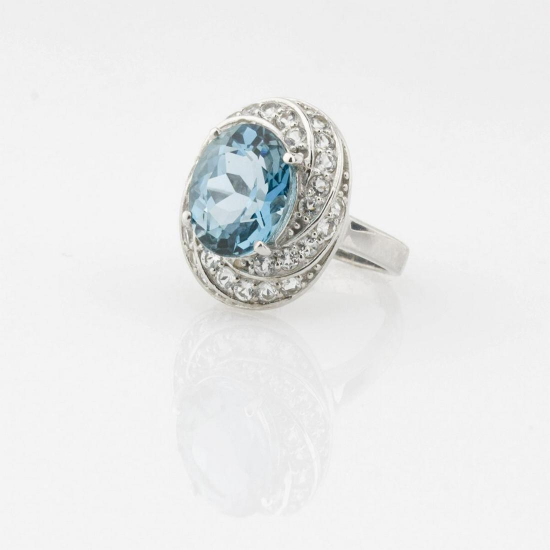 Silver 5.85ctw London Blue  & White Topaz Ring-SZ5