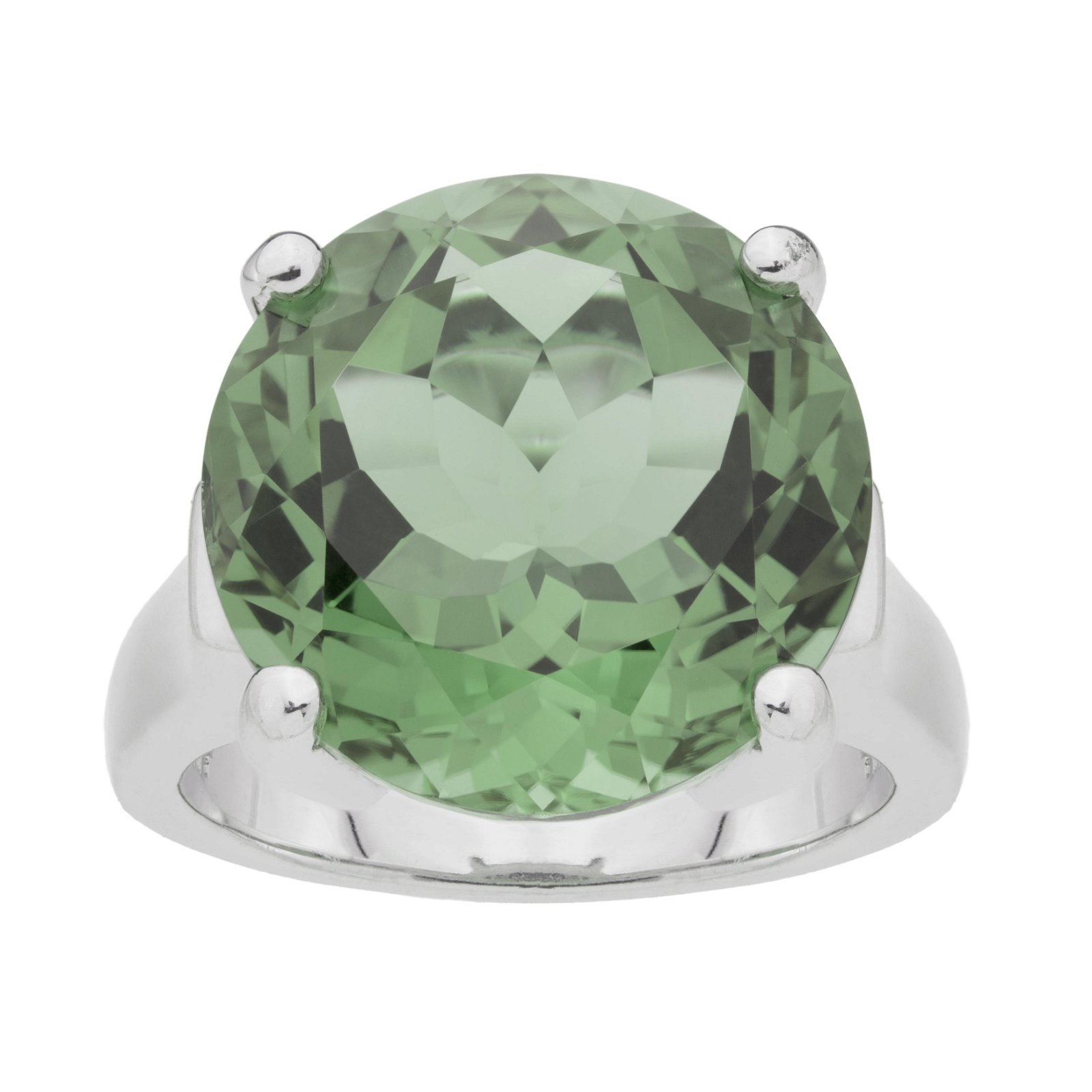 Silver 11.70ct Green Amethyst Solitaire Ring-SZ 5