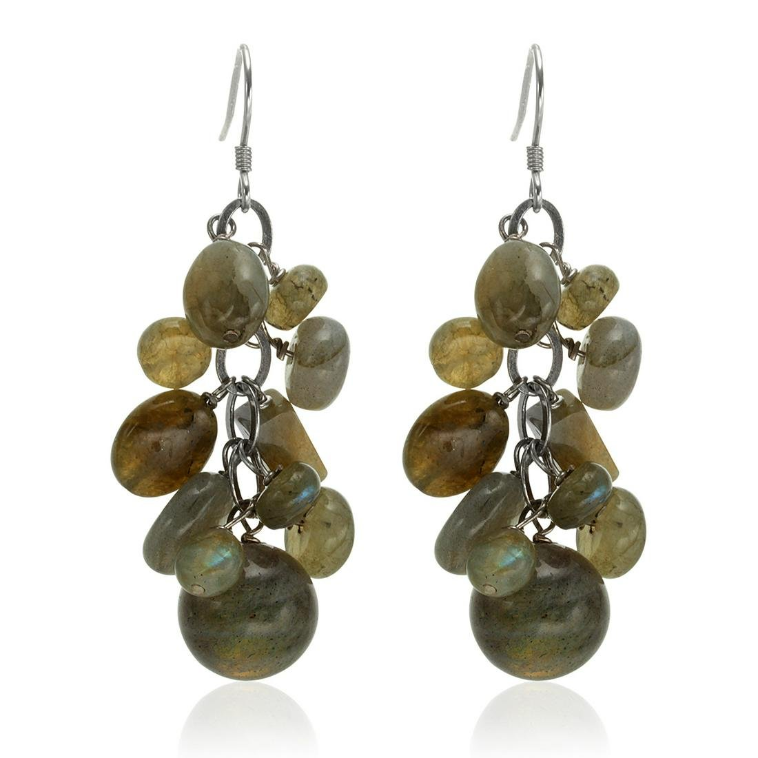 Sterling Silver Labradorite Cluster Drop Earrings
