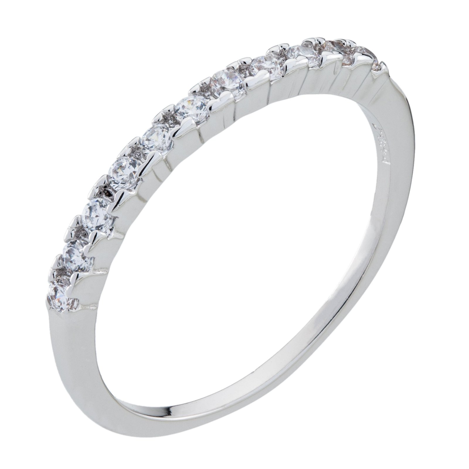 14K White Gold Plate Pave Band Ring-SZ 8