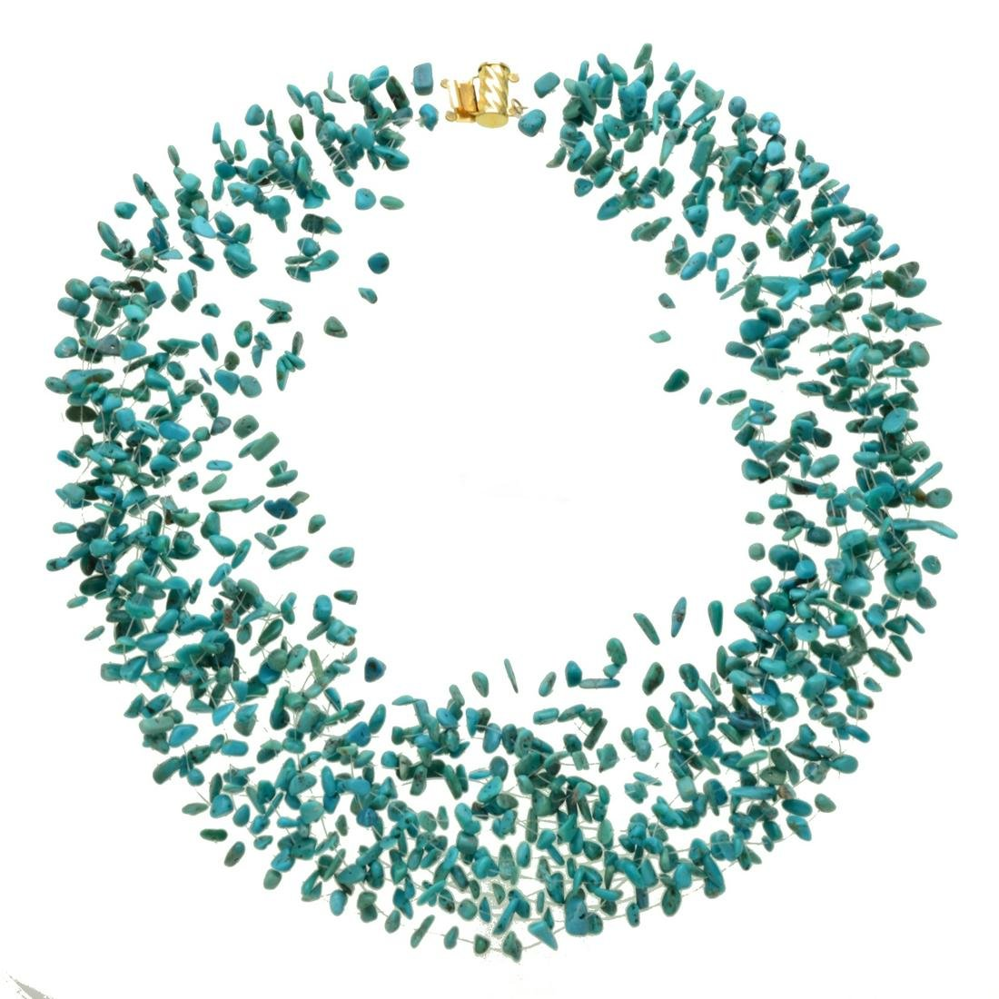 14K Gold Illusion Floating Turquoise Chip Necklace