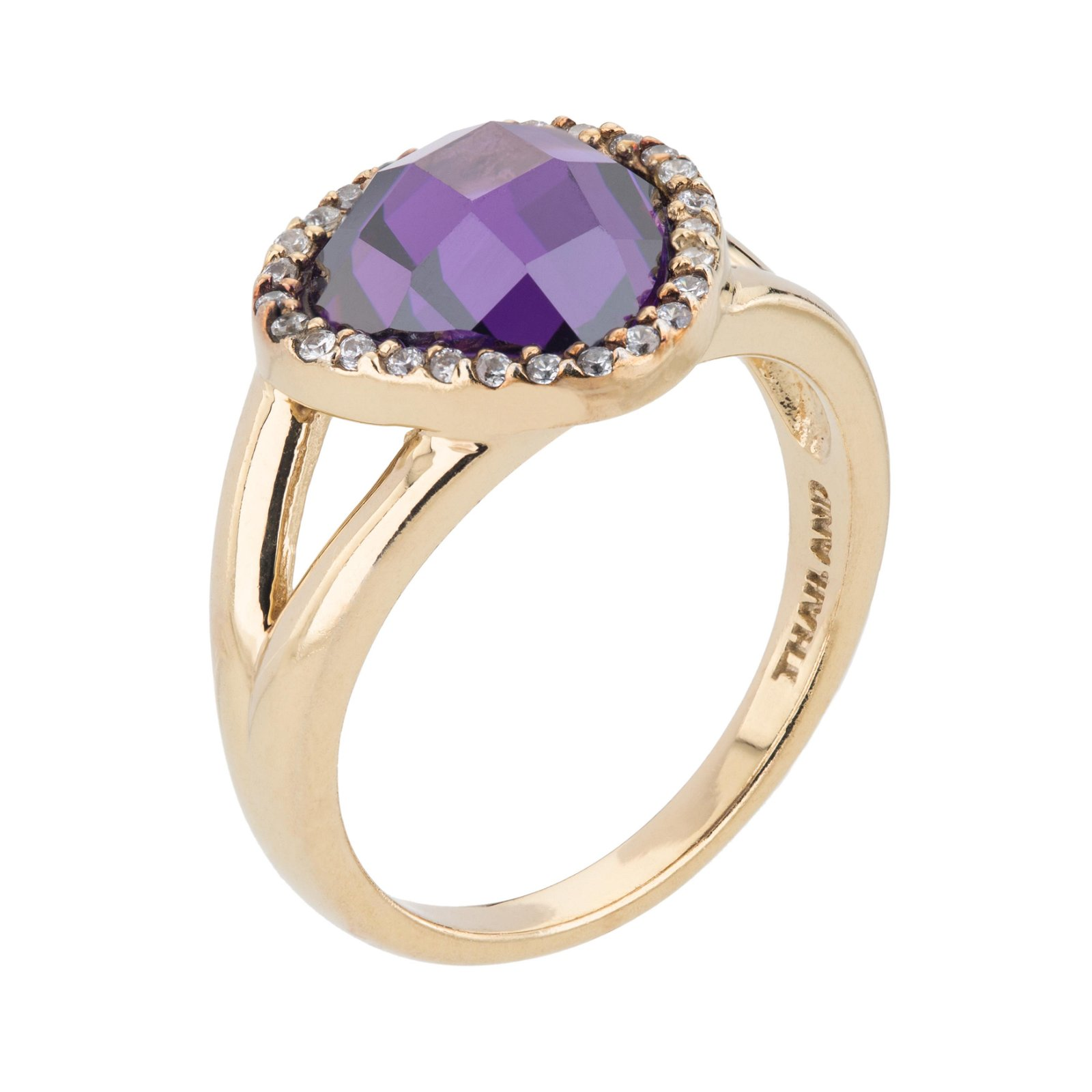 14K Gold over Sterling Silver Pave Halo Ring-SZ 7