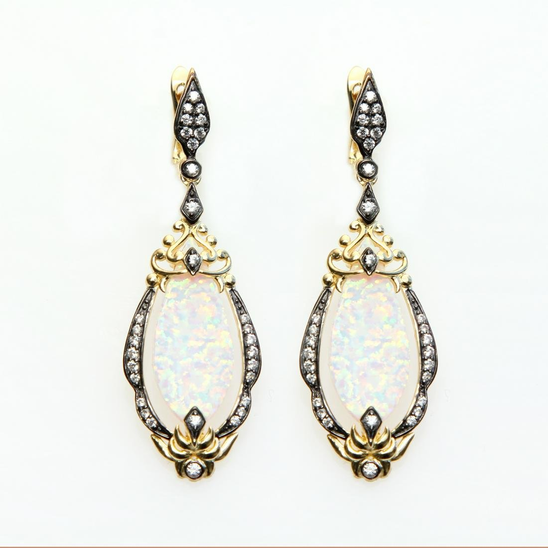 Sterling Silver Simulated Opal Drop Earrings