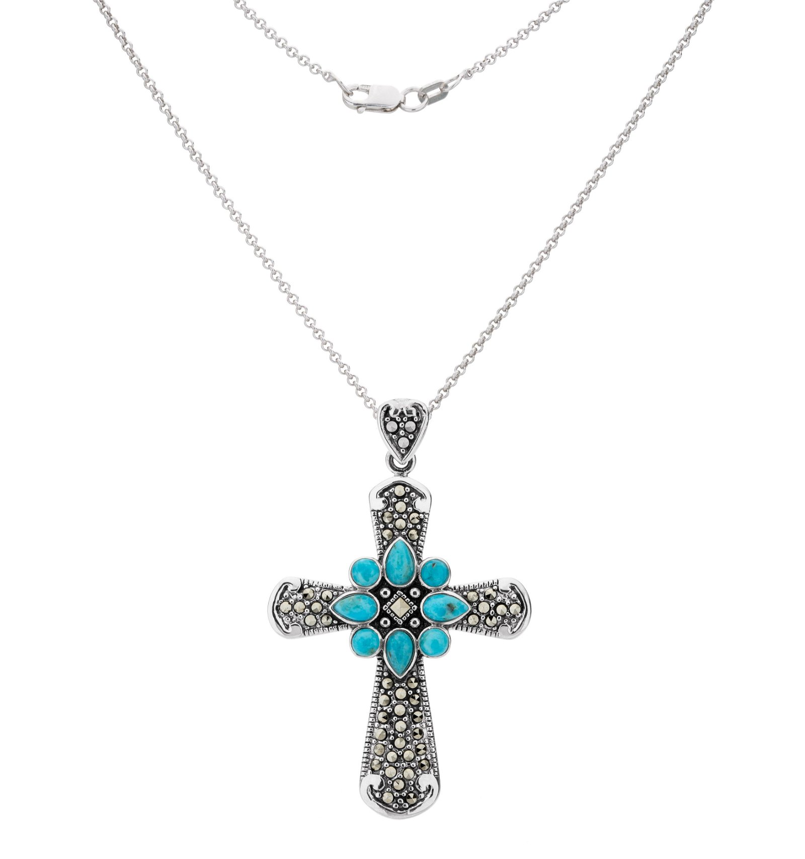 Silver Turquoise & Marcasite Cross Pendant