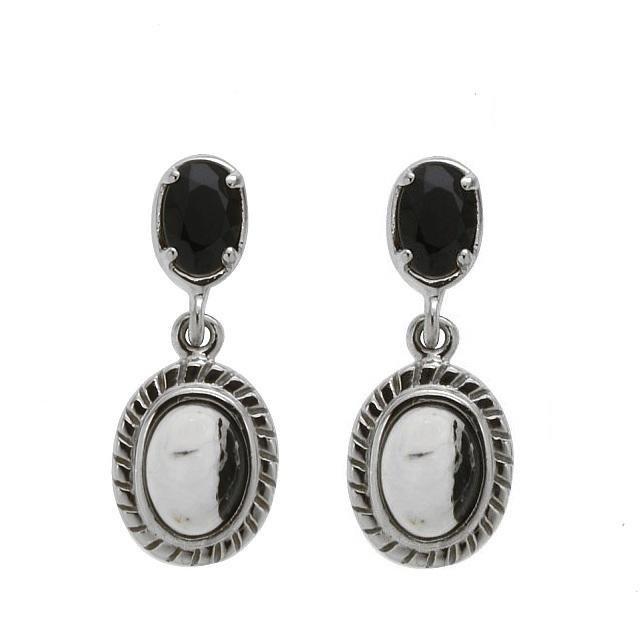 Silver White Buffalo & Black Spinel Drop Earrings