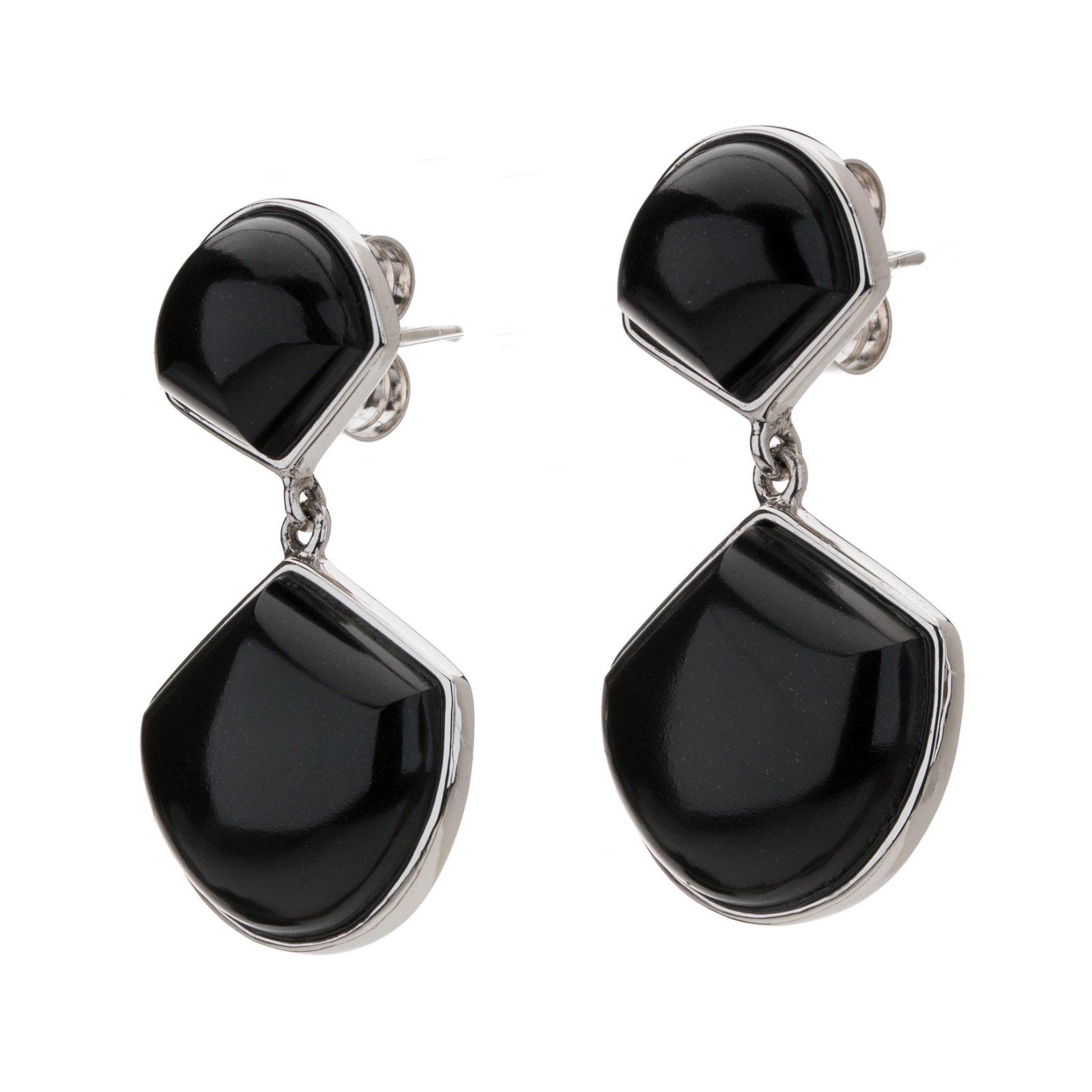 Sterling Silver Black Onyx Fan Drop Earrings