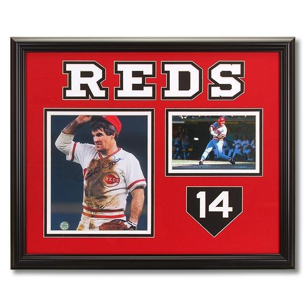 Pete Rose Cincinnati Reds 20x16 Framed signed GFA