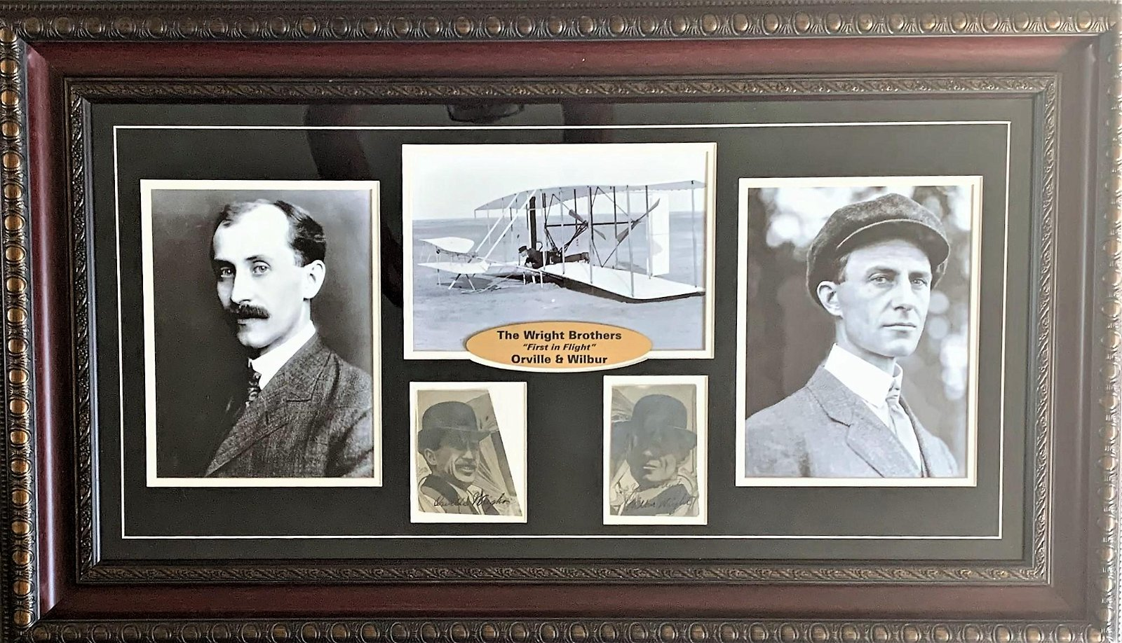 Orville and Wilbur Wright Signed Custom Framed Showcase