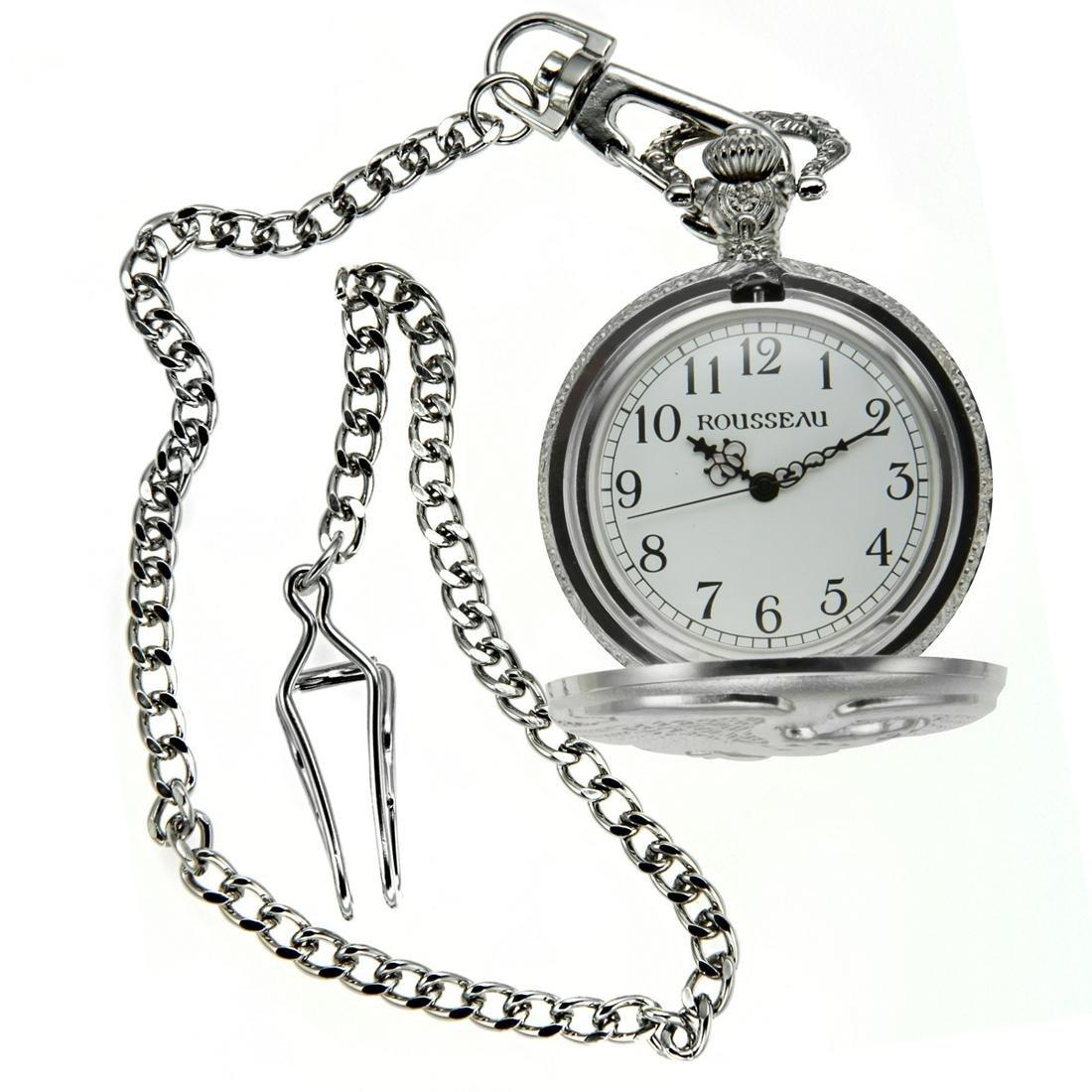 Rousseau 42mm Case Eagle Engraved Pocket Watch