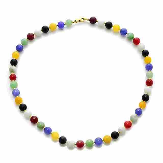 "18K Gold over Silver Multi Color Jade Necklace 18"""
